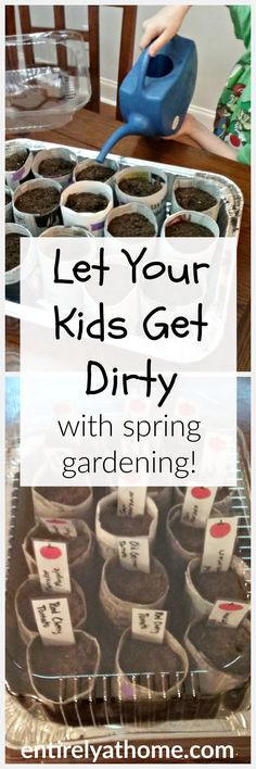 Get gardening with your kids this spring! Also free printable Garden labels!