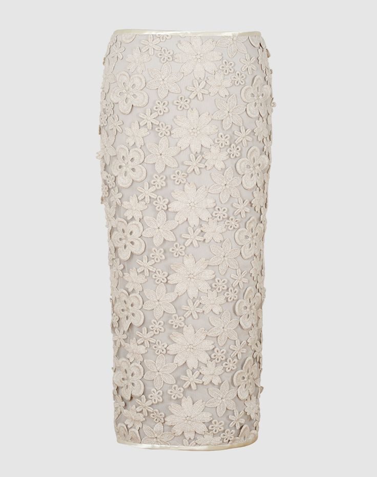 Olivia - Gorgeous wool flowers created using three-dimensional embroidery make this pencil skirt a key wardrobe staple that is as unique as it is eye-catching. Swiss made