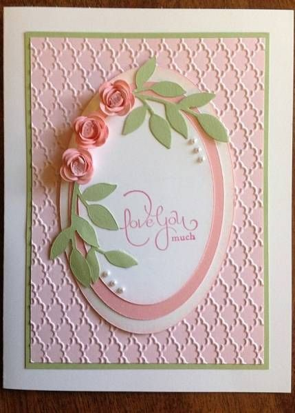 Possible Mothers Day Card  Rolled roses birthday by susie718 - Use: Stampin' UP greeting, CS in celery, pink pirouette, shimmer white, whisper white and pretty in pink, Fan embossing folder, ovals, leaf die, scallop punch and microbeads or small pearls  Best part - rolled roses  from Splitcoaststampers