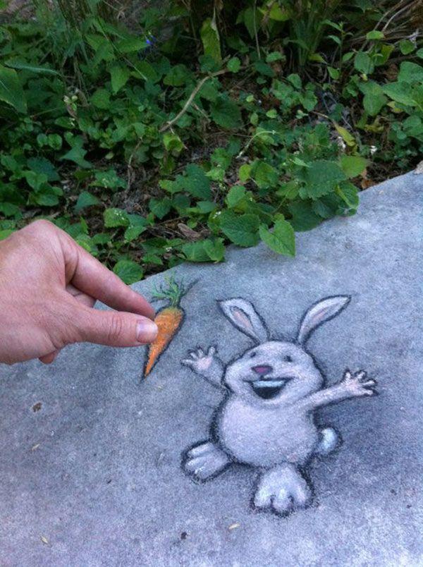 70+ Sidewalk Chalk Art Of Sluggo By David Zinn   – Ing and John's Street Art and International Street Art