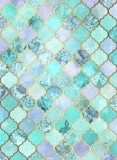 Cool Jade & Icy Mint Decorative Moroccan Tile Pattern... would make a great wall in the shower!
