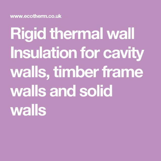 Rigid thermal wall Insulation for cavity walls, timber frame walls and solid walls