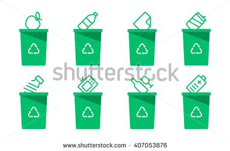 Collection of green separation recycle bin icon.Organic,batteries,metal,plastic,paper,glass,waste,light bulb,aluminium,food,can,bottle.Bin vector,recycle bin.Vector illustration. Isolated on white
