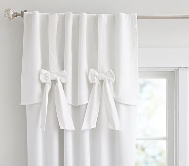 Evelyn Linen Blend Bow Valance Blackout Panel Pbkids
