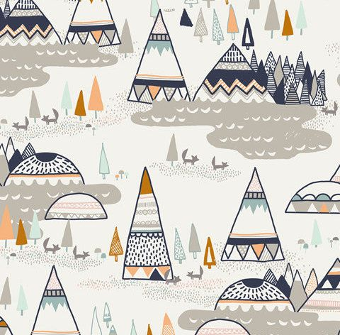 Just got this AMAZING sheet for Charlie! Fitted crib sheet in TeePee Valley by HudsonBedford on Etsy