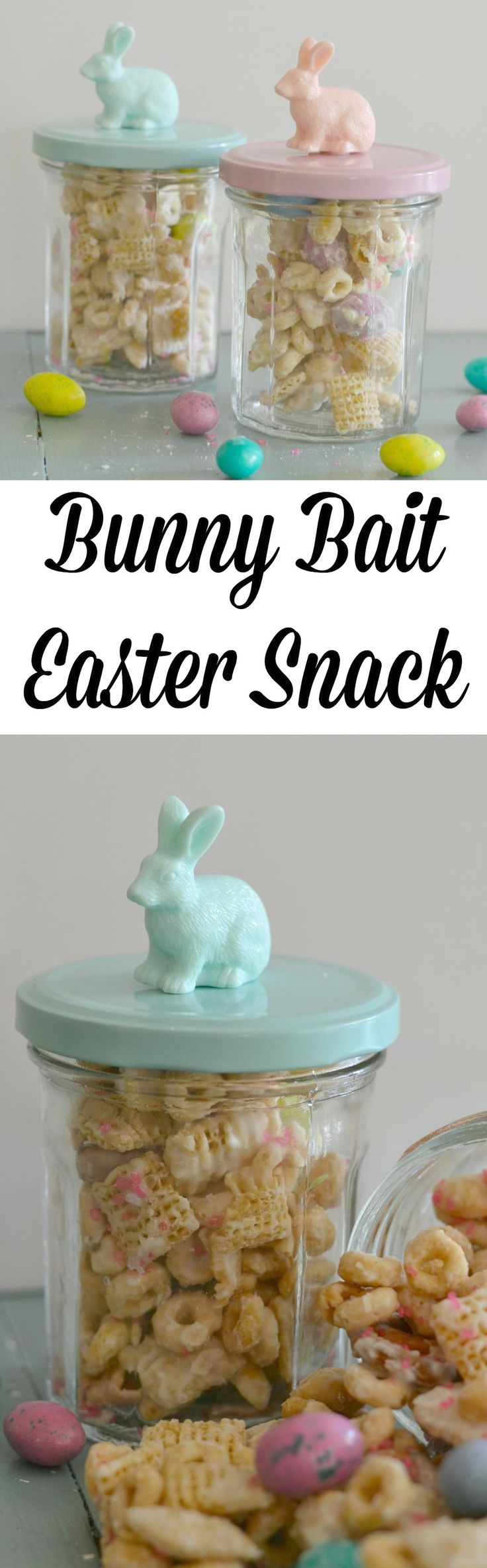 Bunny Bait Easter Snack! This is the perfect treat for teachers and neighbors. Full of M&M's, cereal, candies, pretzels and peanuts. So delicious!