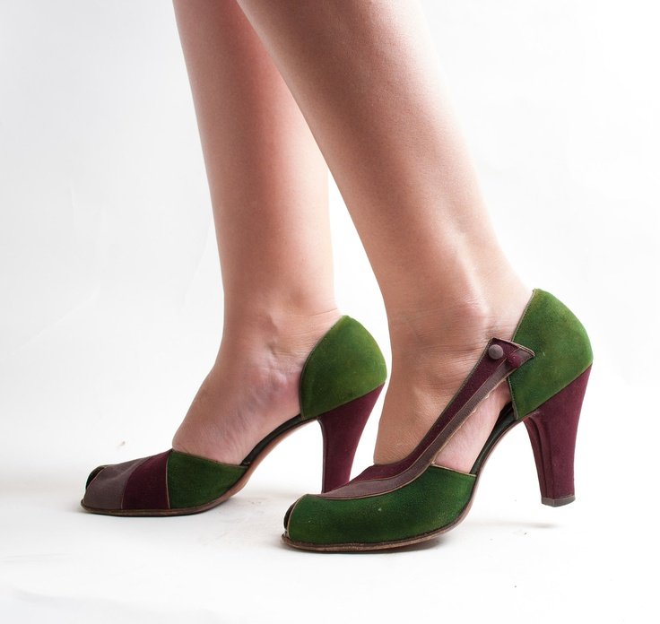 Vintage 1940s Shoes - 40s Peep Toe Shoes - Tri-Color Suede