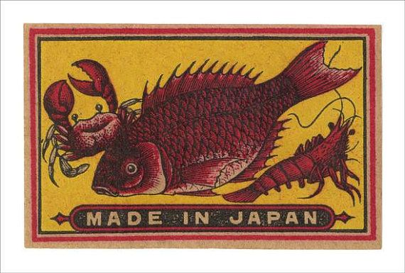 Giclee print of a small vintage Japanese Matchbox Label.
