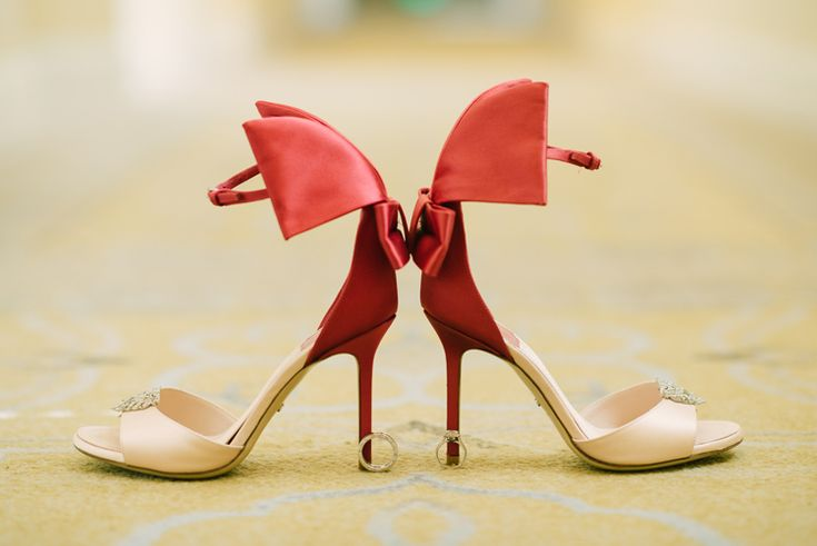 Gorgeous bridal peep toe heels with a pop of color (Ivan Diana Photography)