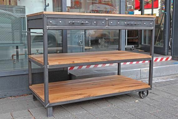 Kuche Arbeitstisch Industriedesign Unterschrank Regal Stahl Eiche Kitchen Work Tables Rustic Industrial Work Table