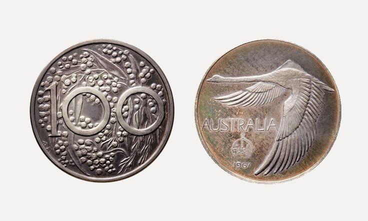 1967 Austrlian Goose Dollar  with wattle by Andor Meszaros