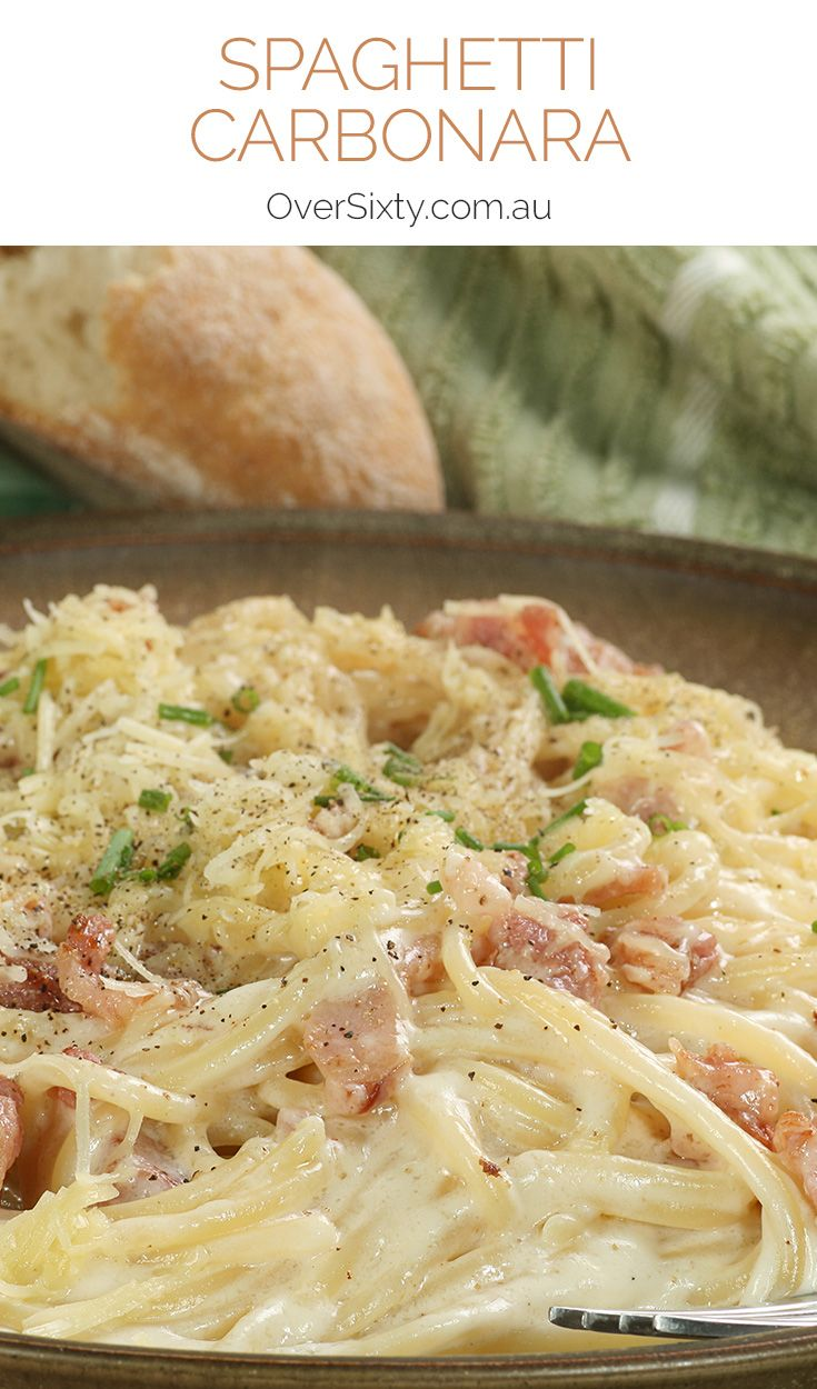 Spaghetti Carbonara Recipe - with a rich, creamy sauce and grated parmesan on top, this pasta dish is surprisingly simple to make but incredibly delicious.