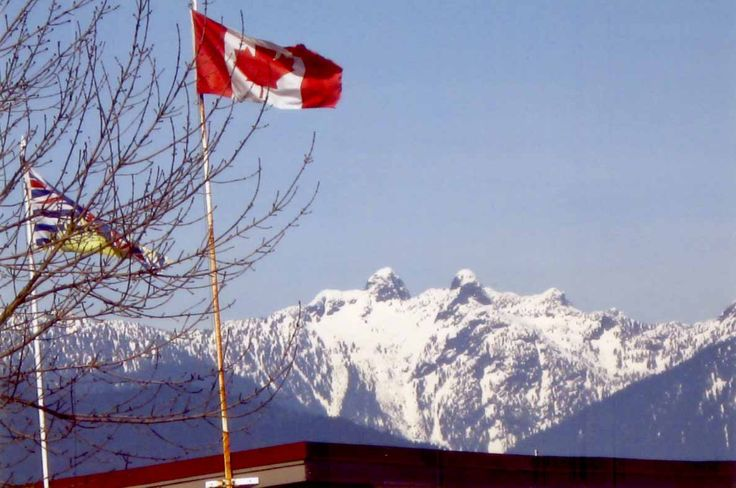 Canadian Flag and British Columbia's provincial flag.