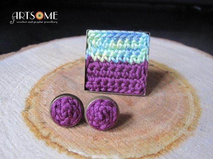 #crochet #jewellery #ring #earrings #set #jewelryset #bohochic #trendy #squarering #purple #turquoise