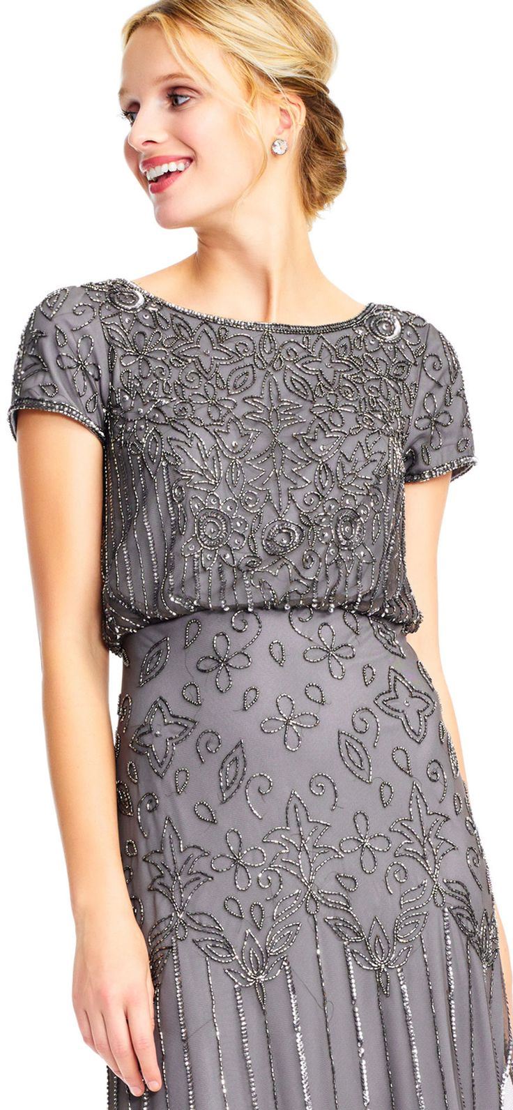 Adrianna Papell | Short Sleeve Blouson Beaded Gown