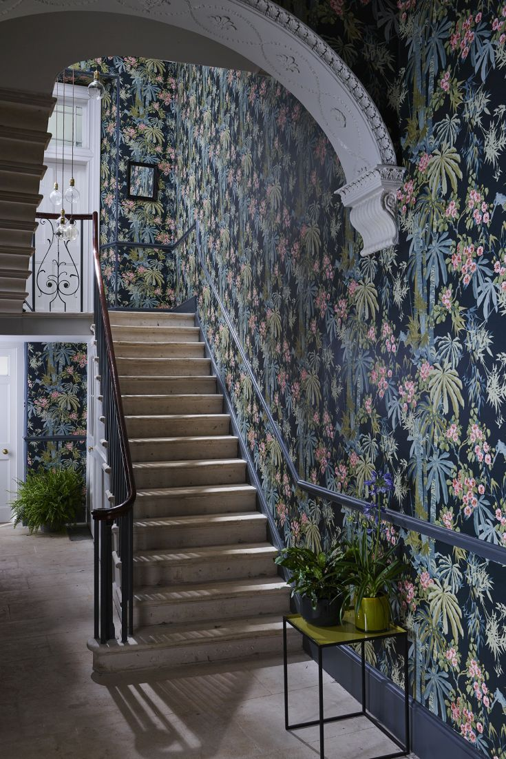 Bamboo Garden wallpaper design by Linwood looks amazing in this hallway.