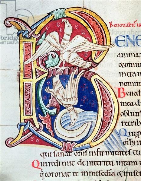 Historiated initial 'B', Psalm 102, St. Alban's Psalter, c.1123 (vellum) Date 12th (C12th)