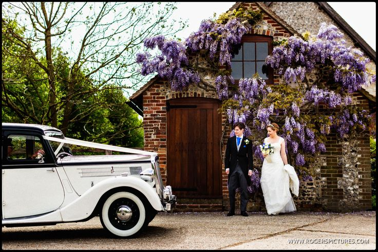 Laura and Dan, newly married, at The Tithe Barn in Hampshire -