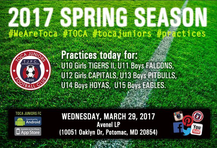 ⚽️ Spring Season Is Here | #Practices today! http://www.tocajuniors.com/#!/page_SCHEDULES_practice | Mobile & APP: Click on Practices #WeAreToca #TOCA #tocajuniors #soccer #training