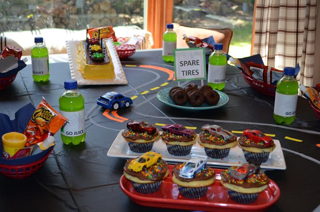 Birthday party idea for boys featuring Cars, Hot Wheels and a race track. - Or even better, have an actual racetrack with cars running around the outside of the refreshments table.