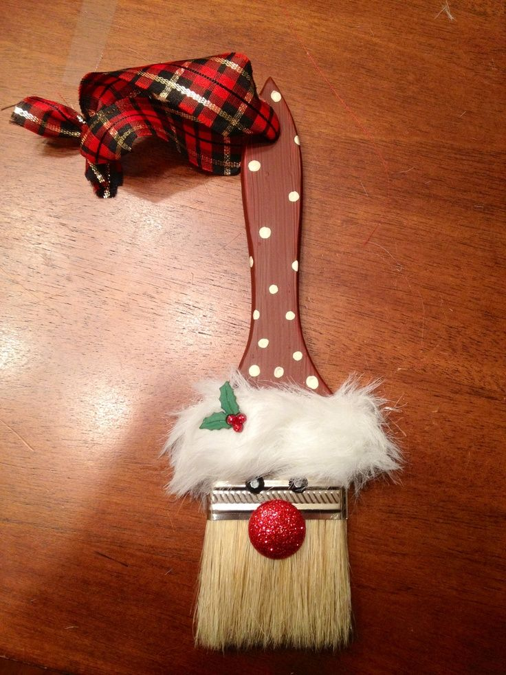 santa paintbrush ornament i made d corations de no l pinterest christmas pinterest. Black Bedroom Furniture Sets. Home Design Ideas