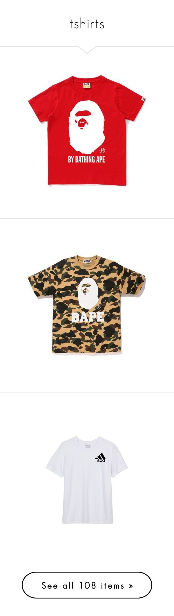 """""""tshirts"""" by mazzyfaye ❤ liked on Polyvore featuring tops, t-shirts, camo t shirt, camo tee, a bathing ape, camo top, cotton tee, muscle tank, oversized tee and baggy tops"""
