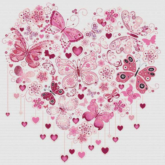 Butterfly Heart PDF Cross Stitch Pattern by XSquaredCrossStitch, $3.00 Could enlarge this and paint it on wall like previous bird mural.....