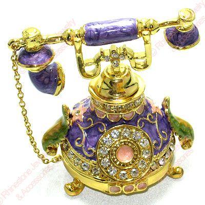 Purple Phone Enamel Crystal Trinket Box