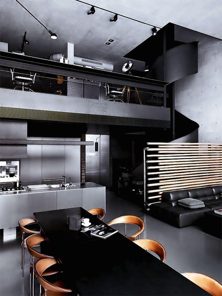 dark toned masculine bachelor pad interior design #interior #design #masculine #bachelor