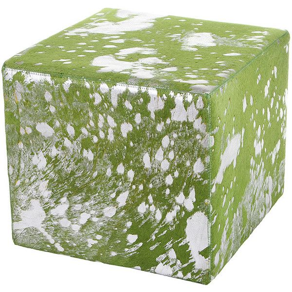 Amara Acid Burnt Cow Skin Cube Pouf - Green/Silver ($408) ❤ liked on Polyvore featuring home, furniture, ottomans, green, green footstool, colored furniture, patterned ottoman, cowhide ottoman and cube ottoman
