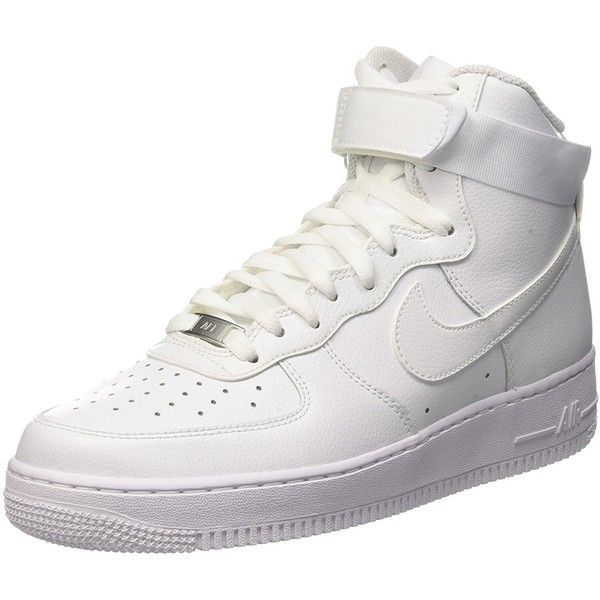 Nike Men's Air Force 1 High '07 Basketball Shoe ($88) ❤ liked on Polyvore featuring men's fashion, men's shoes, men's athletic shoes, mens wide width athletic shoes, mens wide width basketball shoes, mens wide basketball shoes, mens wide fit shoes and nike mens athletic shoes