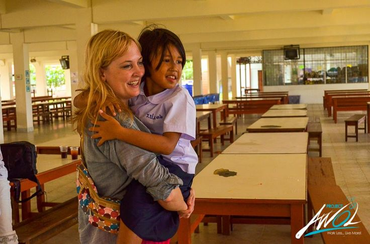 Here is the wonderful Crystal Curtis, complete joy as AWOL gives back to schools in Thailand. #travel #charity #giveback #adventures #projectawol