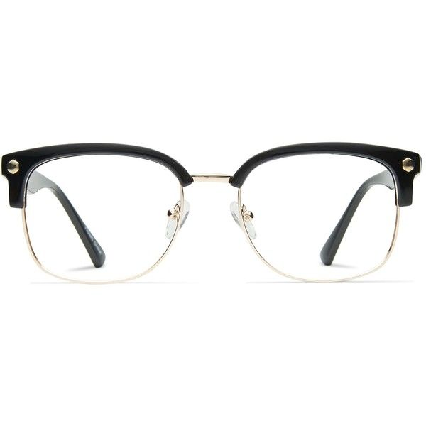 GlassesUSA Elliot Black w/Gold featuring polyvore, fashion, accessories, eyewear, eyeglasses, gold eyeglasses, retro round glasses, fake eye glasses, gold glasses and black eyeglasses