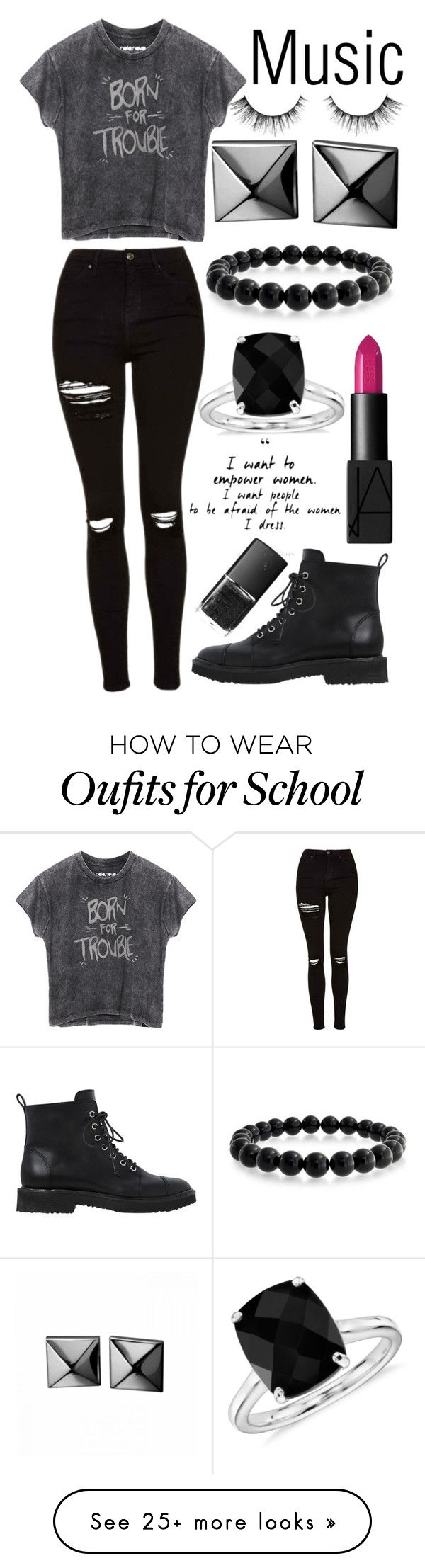 """School in 1 hour and 26 minutes!!!"" by muslc on Polyvore featuring Giuseppe Zanotti, Bling Jewelry, Topshop, NARS Cosmetics, Waterford and Blue Nile"