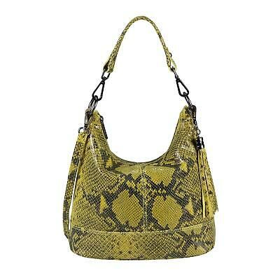 ITALy DAMEN LEDER TASCHE Schlangen-Prägung Hobo Bag Handtasche Schultertasche: …