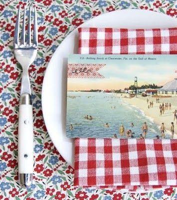 vintage beach postcard, floral + gingham prints: Placecard, Vintage Postcards, Tables Sets, Place Cards, Summer Parties, Old Postcards, Flower Display, Places Cards, Places Sets