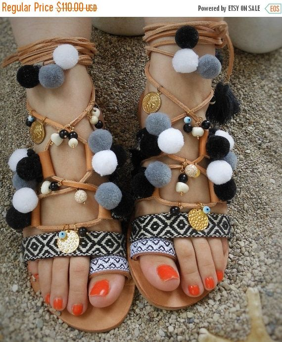 Valentine's Gift Black and White Boho sandals hippie chic by ENOTIA