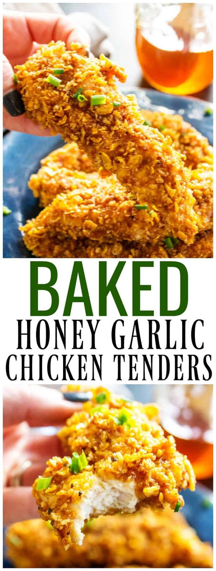Ready in 30 minutes, baked to perfection and dipped in a simple honey garlic sauce these BAKED HONEY GARLIC CHICKEN TENDERS are out of this world.