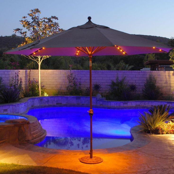 Auto Tilt Patio Umbrella With LED Umbrella Lights   Patio Umbrellas