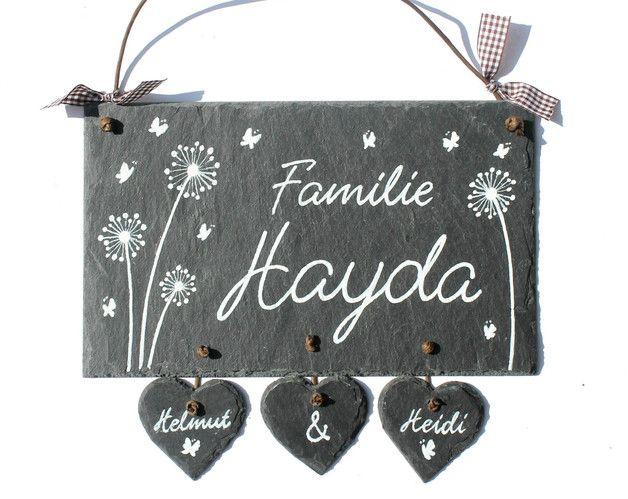 Türschild Schiefer mit floralem Motiv mit Schmetterlingen! Kann sein: Türschild, Willkommensgeschenk,Hochzeits- und Umzugsgeschenk... **Textwahl, und Auswahl der Schriftart liegen ganz bei...