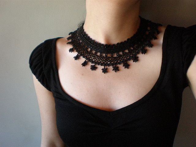 Black Lace - Trientalis Borealis ... Freeform Crochet Necklace | von irregular expressions