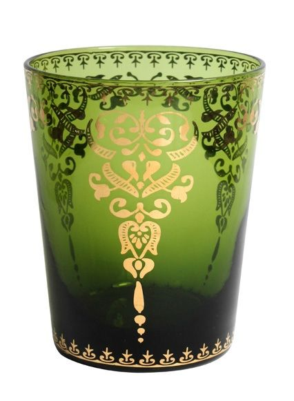 Gold Design on Emerald Moroccan Glass