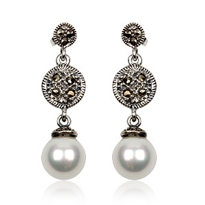 Vintage earrings in sterling silver, pearl and marcasite. Tax free $26.90