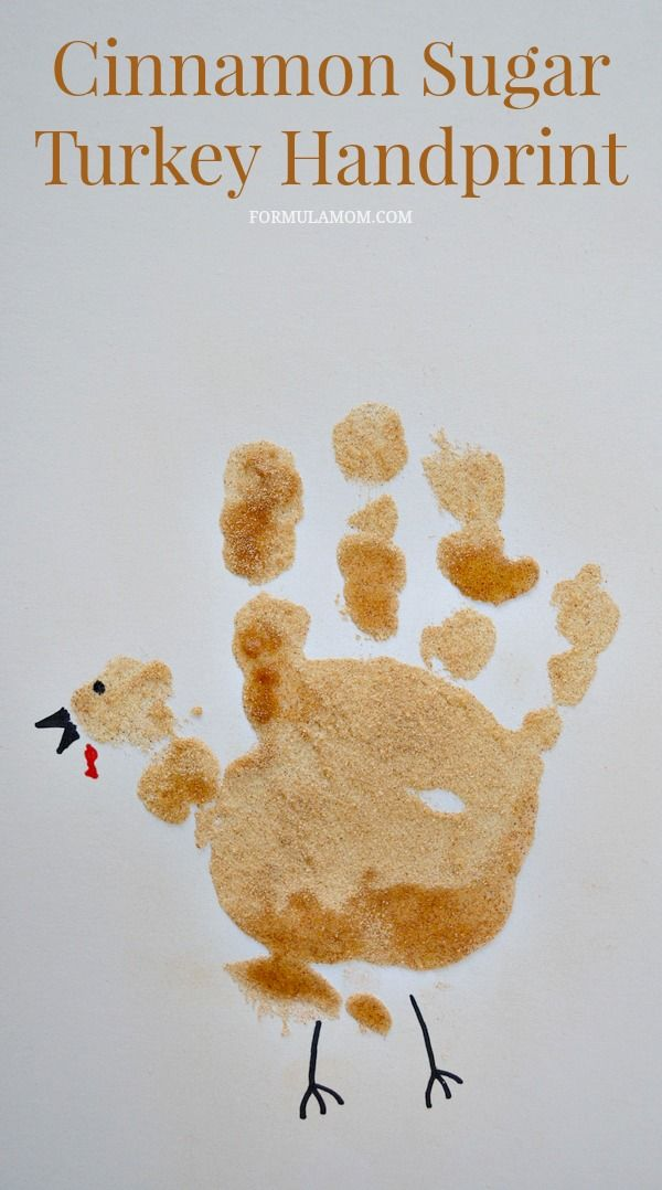 Cinnamon Sugar Turkey Handprint Craft for Toddlers for Thanksgiving sponsored