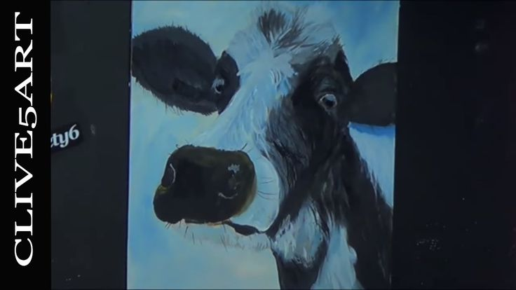 The Cow This is a full step by step learn to Beginners Acrylic Painting is easy to follow in acrylics let #CLIVE5ART show you step by step how an easy fun decorative art project      Easy to follow every part of the painting process to get you a great finished painting. in a fun teaching lesson using several reference sources to bring you a true teaching experience  Im painting on a 16x20-inch stretched canvas but you can paint on any type and size of canvas you like.  Standard brushes used…