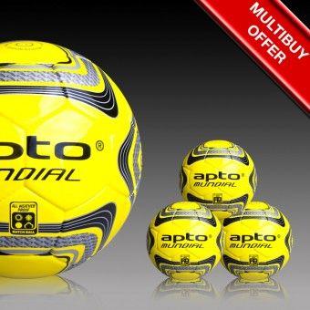 Apto Sports 3 Yellow and Black Mundial Matchballs - football balls Apto Sports