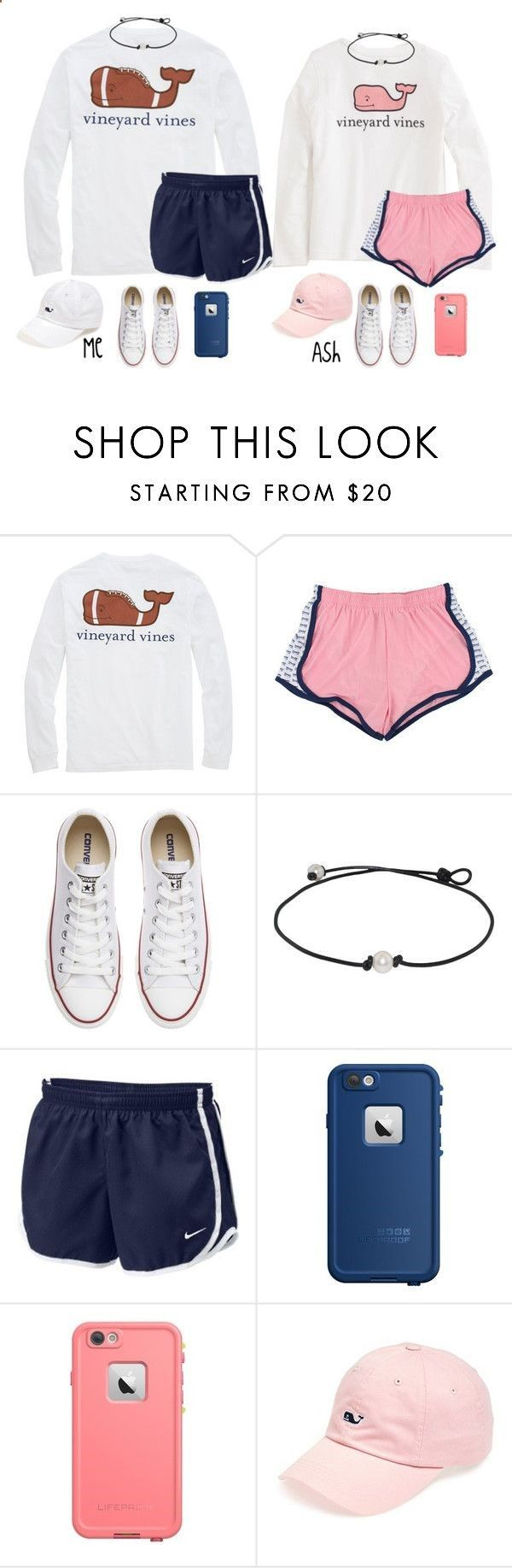 Twin Vineyard Vines outfits by ponyboysgirlfriend ❤ liked on Polyvore featuring Vineyard Vines, Converse, NIKE, LifeProof, womens clothing, women, female, woman, misses and juniors