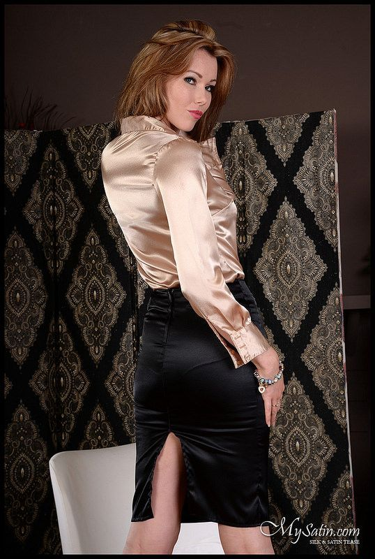 satin blouse fetish Black