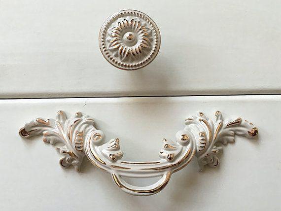 30 Euro | 64 mm Weiß Creme Gold Griffe Küche Knöpfe Möbel Griff Knauf Knäufe Schrank Möbelknäufe Möbelknöpfe Schubladengriffe Schrankknöpfe