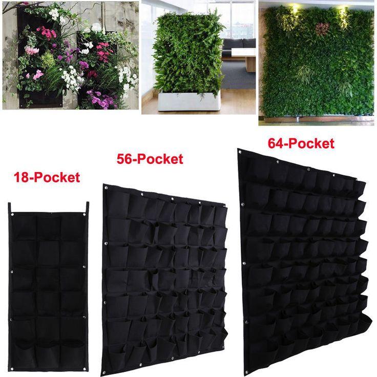 18 56 64 Pocket Hanging Garden Planting Bag Wall Vertical Greening Outdoor Plant